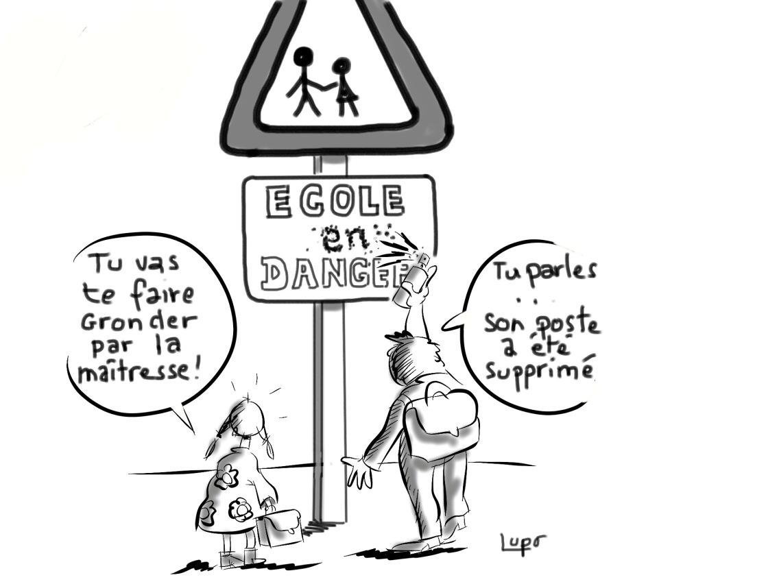 Panneau école en danger